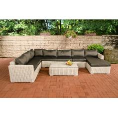 Sofa-Garnitur CP054, Lounge-Set Gartengarnitur, Poly-Rattan ~ Kissen anthrazit, perlweiß