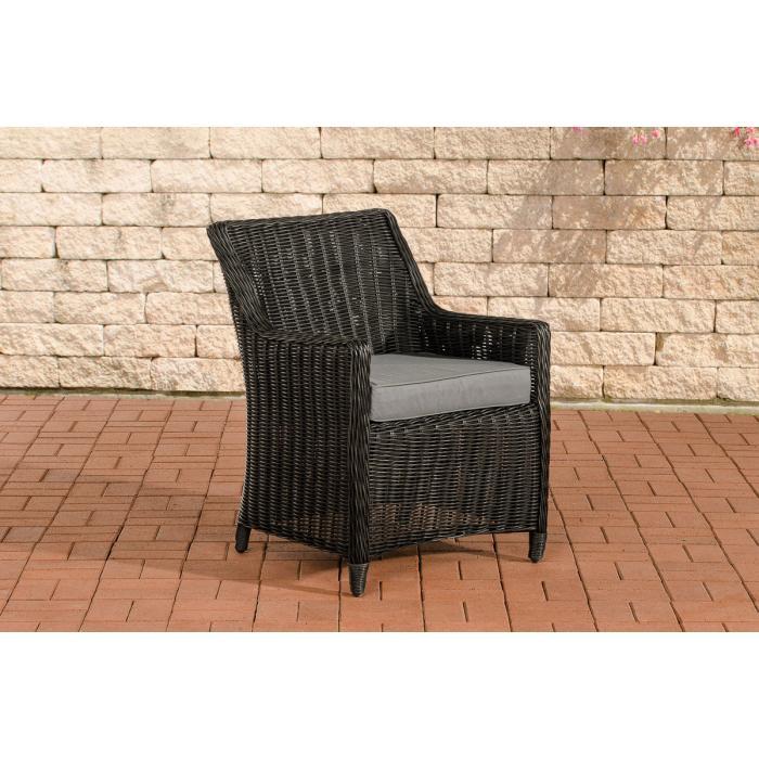 gartensessel cp060 korbsessel poly rattan kissen eisengrau schwarz. Black Bedroom Furniture Sets. Home Design Ideas