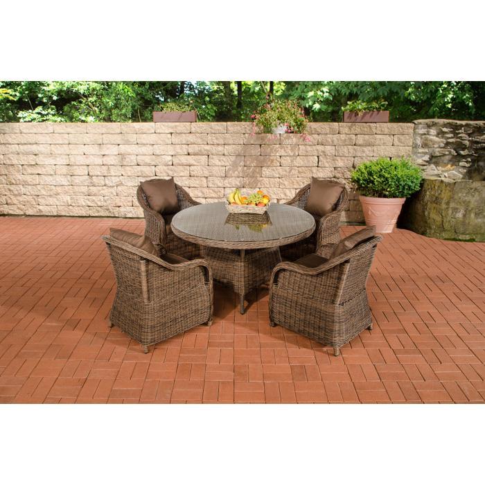Garten garnitur cp070 sitzgruppe lounge garnitur poly rattan kissen terrabraun braun meliert - Sitzgruppe garten rattan ...