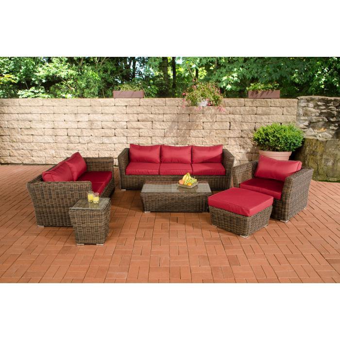 poly rattan gartengarnitur sousse sofa garnitur lounge set braun meliert polsterung rubinrot. Black Bedroom Furniture Sets. Home Design Ideas