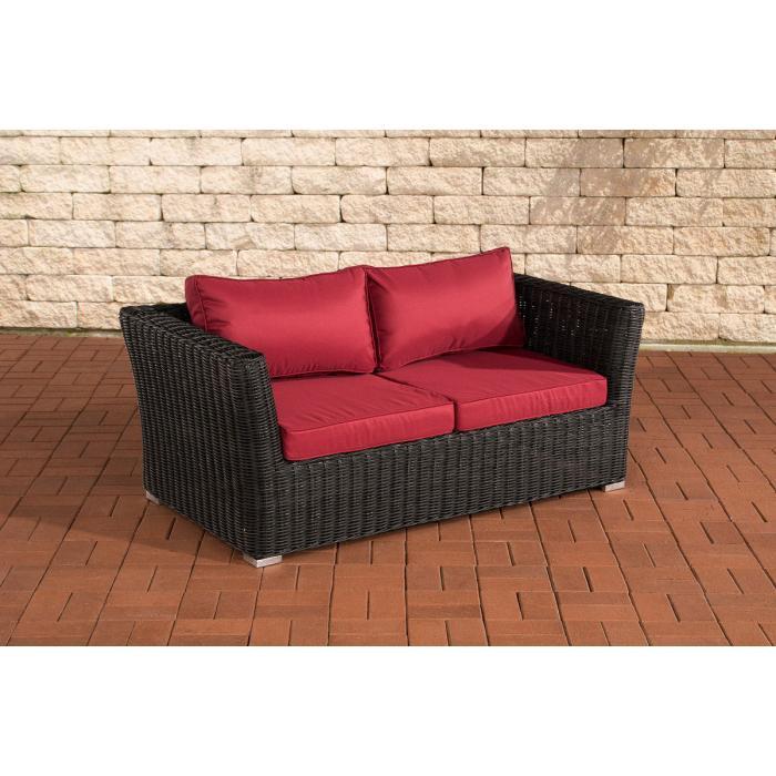 2er sofa 2 sitzer sousse poly rattan schwarz in rubinrot. Black Bedroom Furniture Sets. Home Design Ideas