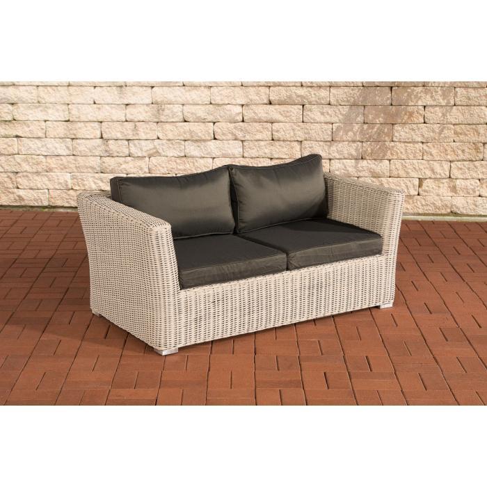 2er sofa 2 sitzer sousse poly rattan perlwei mit kissen in anthrazit. Black Bedroom Furniture Sets. Home Design Ideas