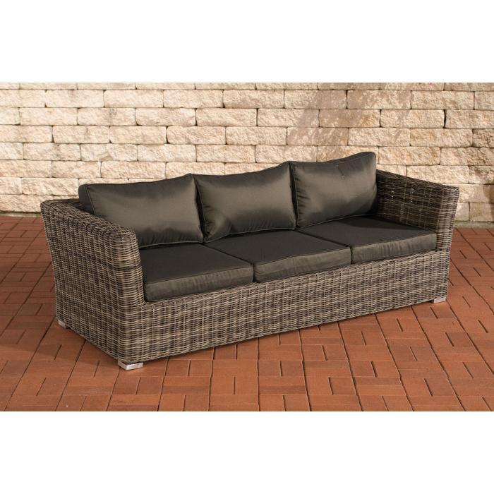 3er sofa 3 sitzer sousse poly rattan grau meliert mit. Black Bedroom Furniture Sets. Home Design Ideas