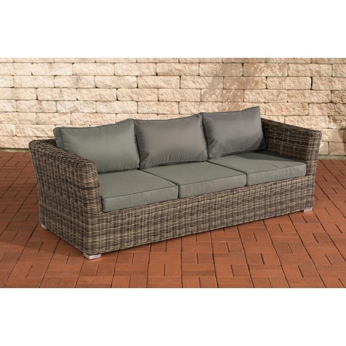 3er sofa 3 sitzer sousse poly rattan grau meliert mit kissen in eisengrau. Black Bedroom Furniture Sets. Home Design Ideas