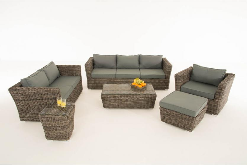 poly rattan gartengarnitur sousse sofa garnitur lounge set grau meliert polsterung eisengrau. Black Bedroom Furniture Sets. Home Design Ideas