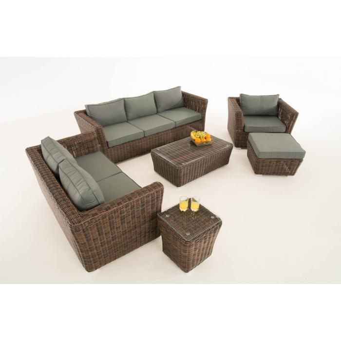 poly rattan gartengarnitur sousse sofa garnitur lounge set braun meliert polsterung eisengrau. Black Bedroom Furniture Sets. Home Design Ideas