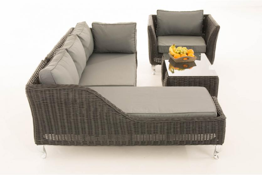 sofa garnitur cp055 lounge set gartengarnitur poly rattan kissen eisengrau schwarz. Black Bedroom Furniture Sets. Home Design Ideas