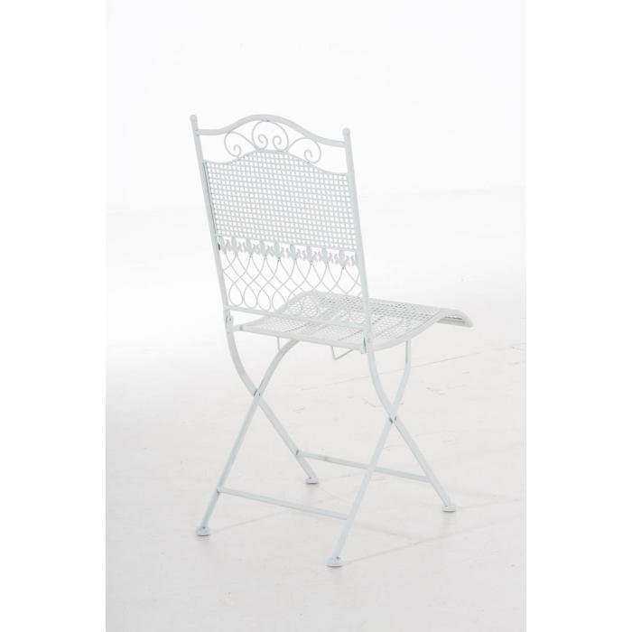 Gartenstuhl CP335, Klappstuhl Bistrostuhl Stuhl, Metall ~ weiß