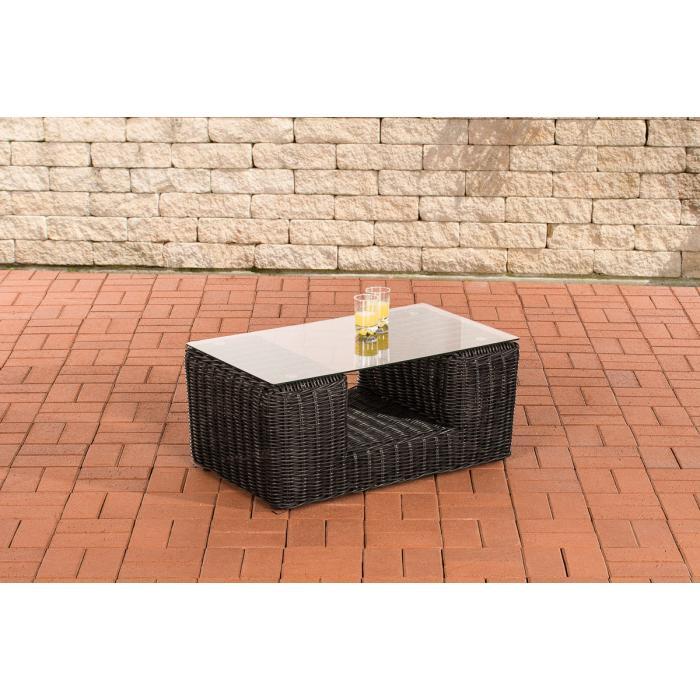 Gartentisch Cp055 Beistelltisch Poly Rattan Schwarz