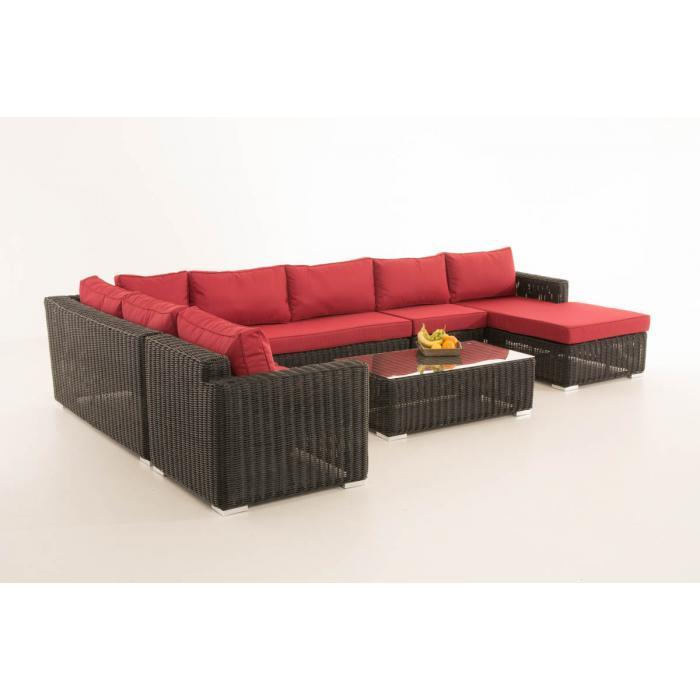sofa garnitur cp054 lounge set gartengarnitur poly rattan kissen rubinrot schwarz. Black Bedroom Furniture Sets. Home Design Ideas