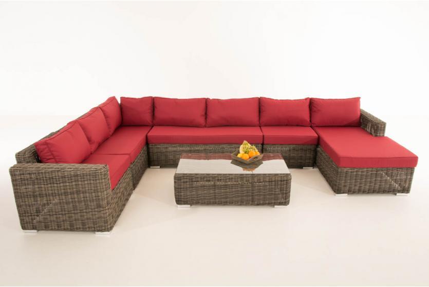 sofa garnitur cp054 lounge set gartengarnitur poly rattan kissen rubinrot grau meliert. Black Bedroom Furniture Sets. Home Design Ideas