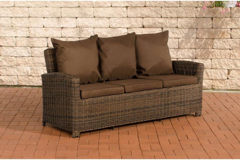 3er sofa cp042 3 sitzer poly rattan kissen terrabraun braun meliert. Black Bedroom Furniture Sets. Home Design Ideas