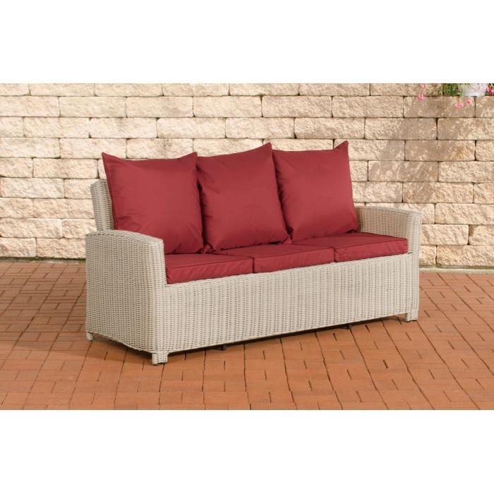 3er sofa cp042 3 sitzer poly rattan kissen rubinrot. Black Bedroom Furniture Sets. Home Design Ideas