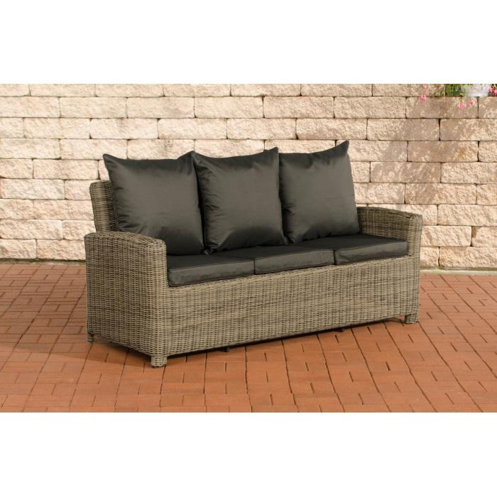 3er sofa cp042 3 sitzer poly rattan kissen anthrazit natur for Rattan loungemobel anthrazit