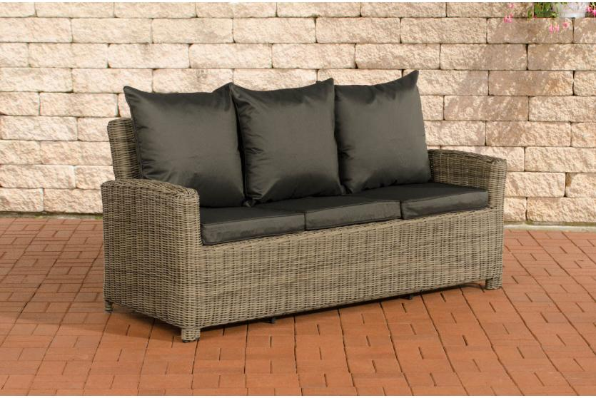 3er sofa cp042 3 sitzer poly rattan kissen anthrazit natur. Black Bedroom Furniture Sets. Home Design Ideas
