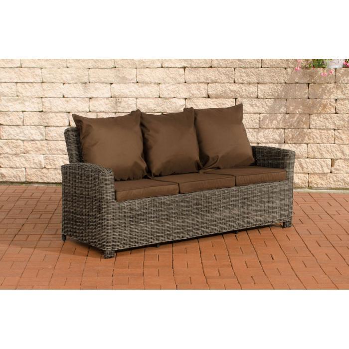 3er sofa cp042 3 sitzer poly rattan kissen terrabraun grau meliert. Black Bedroom Furniture Sets. Home Design Ideas