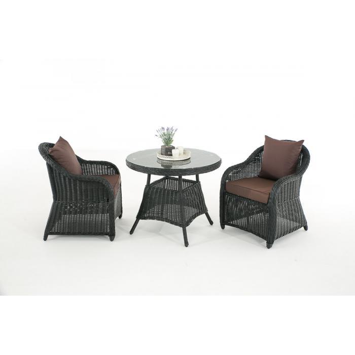 Garten garnitur cp063 sitzgruppe lounge garnitur poly rattan kissen terrabraun schwarz - Lounge garnitur garten ...