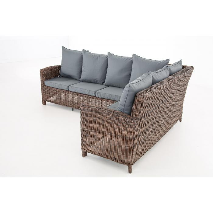 sofa garnitur cp056 lounge set gartengarnitur poly rattan kissen eisengrau braun meliert. Black Bedroom Furniture Sets. Home Design Ideas