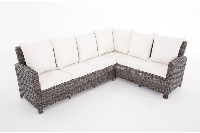 sofa garnitur cp056 lounge set gartengarnitur poly rattan kissen creme grau meliert. Black Bedroom Furniture Sets. Home Design Ideas