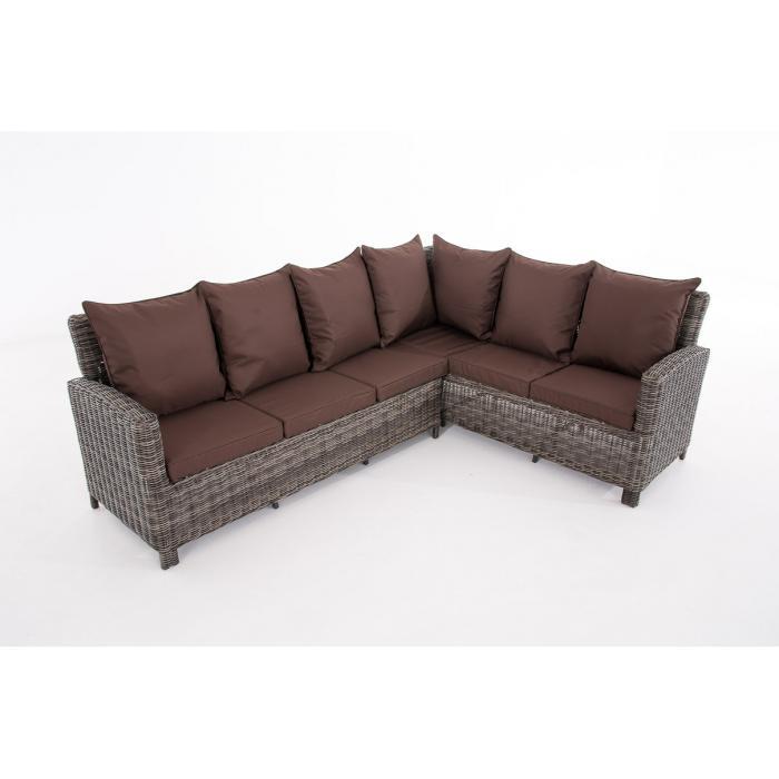 sofa garnitur cp056 lounge set gartengarnitur poly rattan kissen terrabraun grau meliert. Black Bedroom Furniture Sets. Home Design Ideas