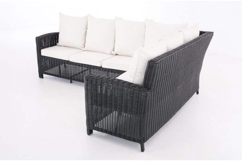 sofa garnitur cp056 lounge set gartengarnitur poly rattan kissen creme schwarz. Black Bedroom Furniture Sets. Home Design Ideas