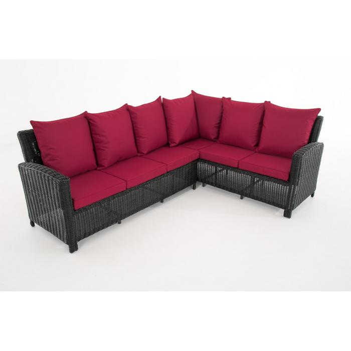 sofa garnitur cp056 lounge set gartengarnitur poly rattan kissen rubinrot schwarz. Black Bedroom Furniture Sets. Home Design Ideas