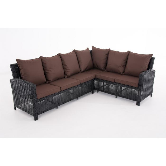 sofa garnitur cp056 lounge set gartengarnitur poly rattan kissen terrabraun schwarz. Black Bedroom Furniture Sets. Home Design Ideas