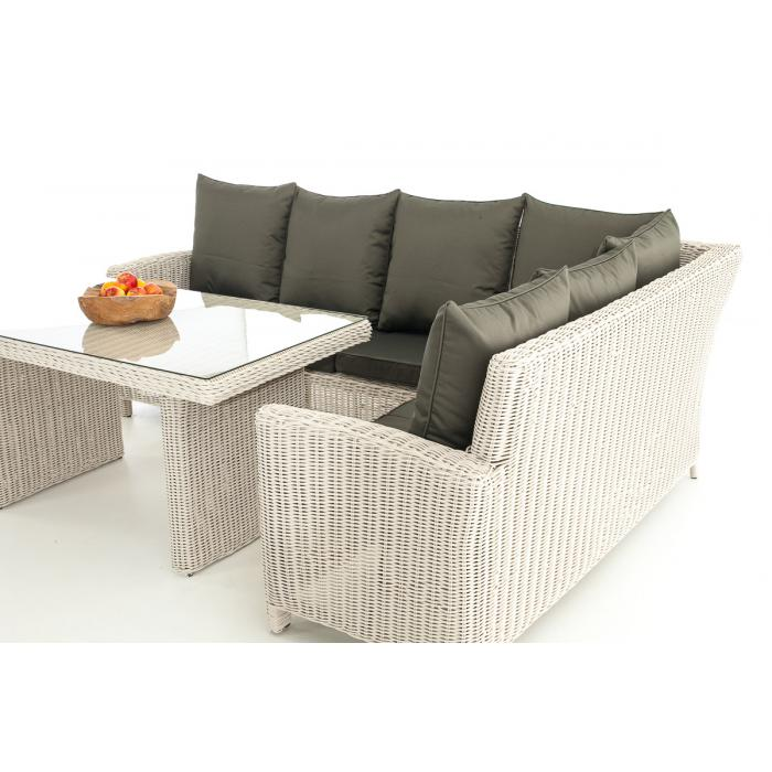 Sofa-Garnitur CP056, Lounge-Set Gartengarnitur, Poly-Rattan ~ Kissen anthrazit, perlweiß