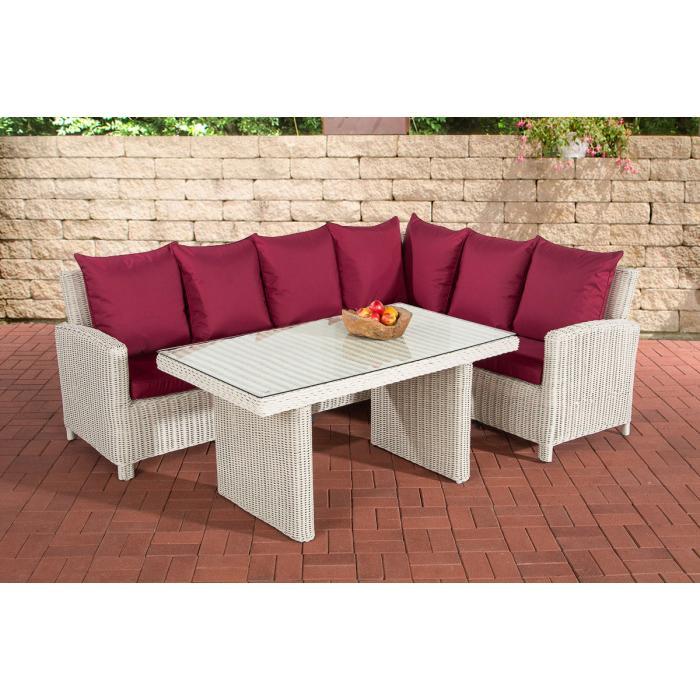 sofa garnitur cp056 lounge set gartengarnitur poly rattan kissen rubinrot perlwei. Black Bedroom Furniture Sets. Home Design Ideas