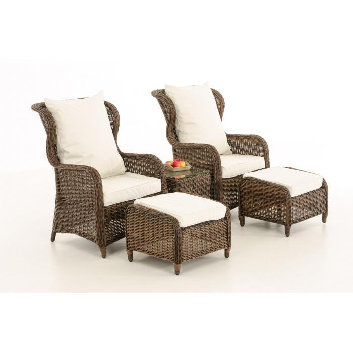 Garten garnitur cp067 sitzgruppe lounge garnitur poly rattan kissen creme braun meliert - Lounge garnitur garten ...