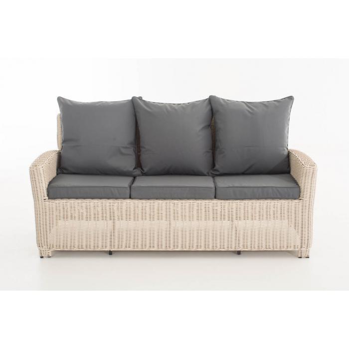 3er Sofa CP042, 3-Sitzer, Poly-Rattan ~ Kissen eisengrau, perlweiß