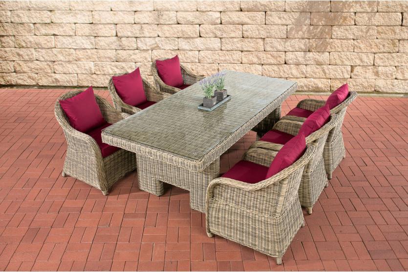 garten garnitur cp065 sitzgruppe lounge garnitur poly rattan kissen rubinrot natur. Black Bedroom Furniture Sets. Home Design Ideas