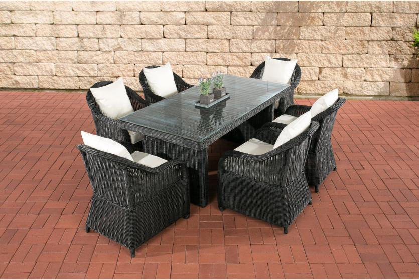 garten garnitur cp071 sitzgruppe lounge garnitur poly rattan kissen creme schwarz. Black Bedroom Furniture Sets. Home Design Ideas