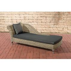 Chaiselongue CP302, Recamiere Poly-Rattan ~ Kissen anthrazit, natur