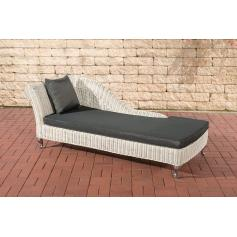 Chaiselongue CP302, Recamiere Poly-Rattan ~ Kissen anthrazit, perlweiß