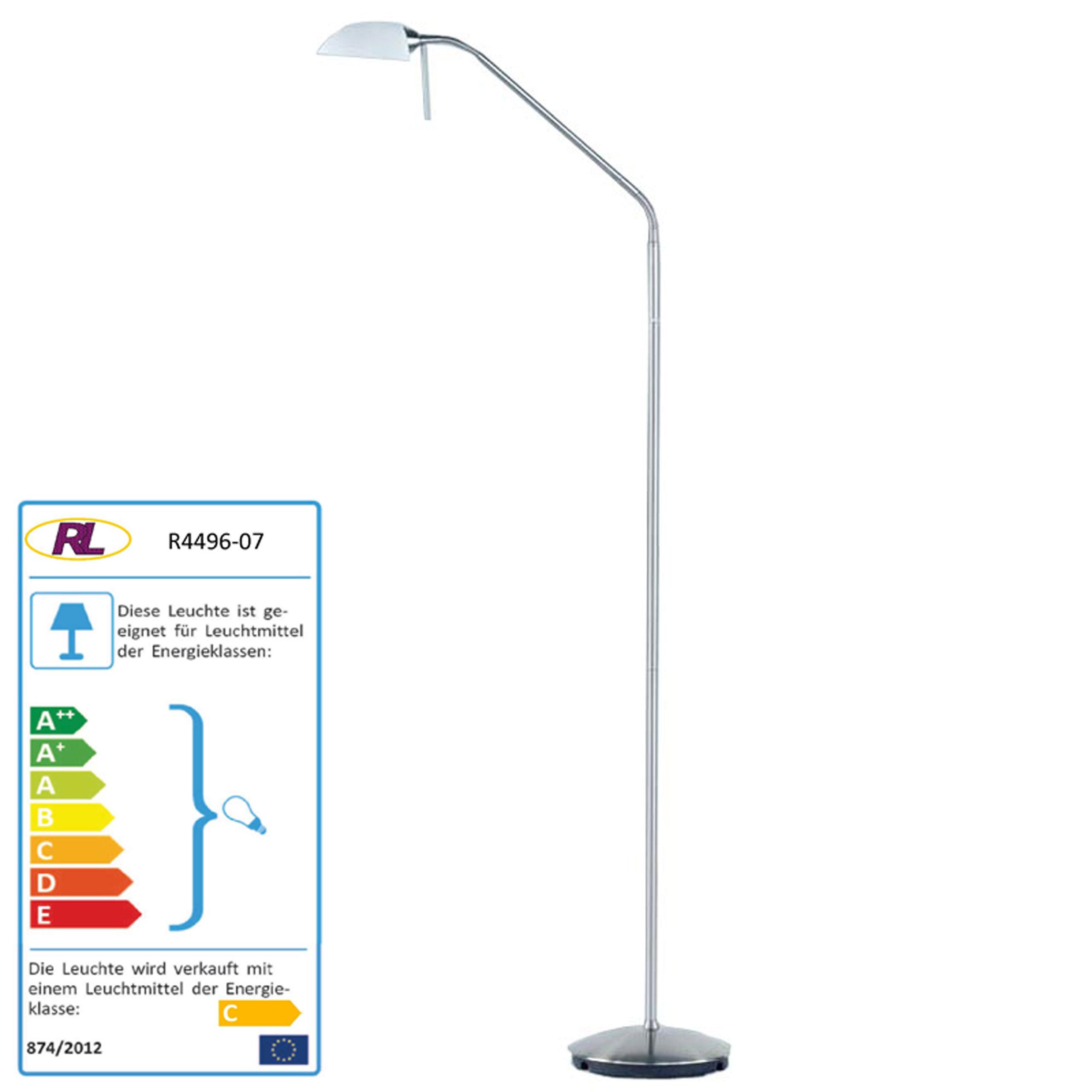 Reality|Trio Halogen-Stehleuchte Stehlampe, Nickel matt mit weißem Glas, 135cm, EEK C