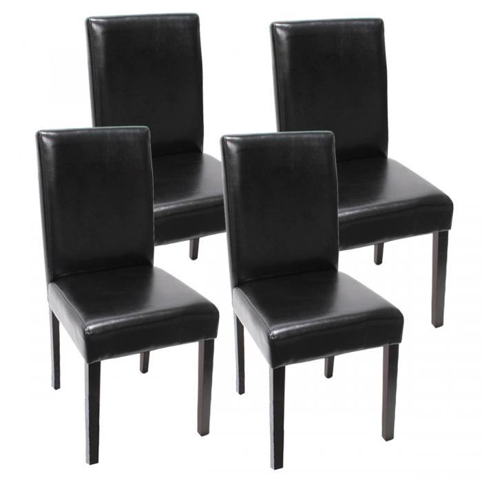 4x esszimmerstuhl stuhl lehnstuhl littau kunstleder schwarz dunkle beine. Black Bedroom Furniture Sets. Home Design Ideas