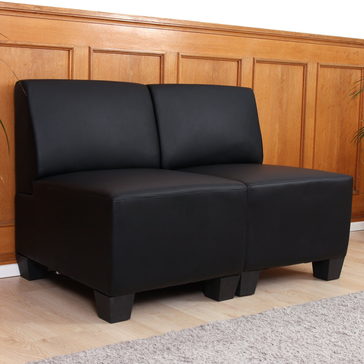 modular 2 sitzer sofa couch lyon kunstleder schwarz ohne armlehnen. Black Bedroom Furniture Sets. Home Design Ideas