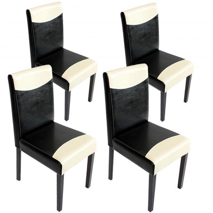 weißdunkle Esszimmerstuhl Beine Stuhl ~ Küchenstuhl Kunstlederschwarz Littau 4x OXkn08wP