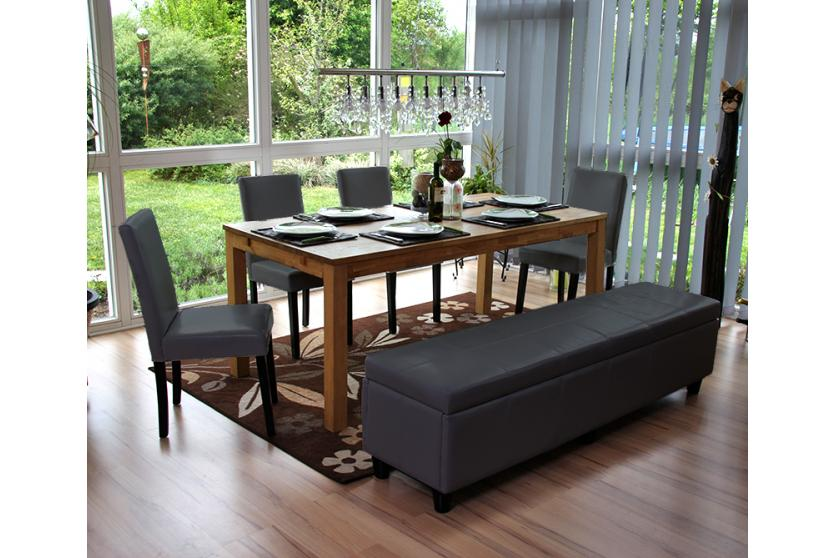 bank sitzbank mit aufbewahrung kriens xxl leder kunstleder 180x45x45cm grau. Black Bedroom Furniture Sets. Home Design Ideas