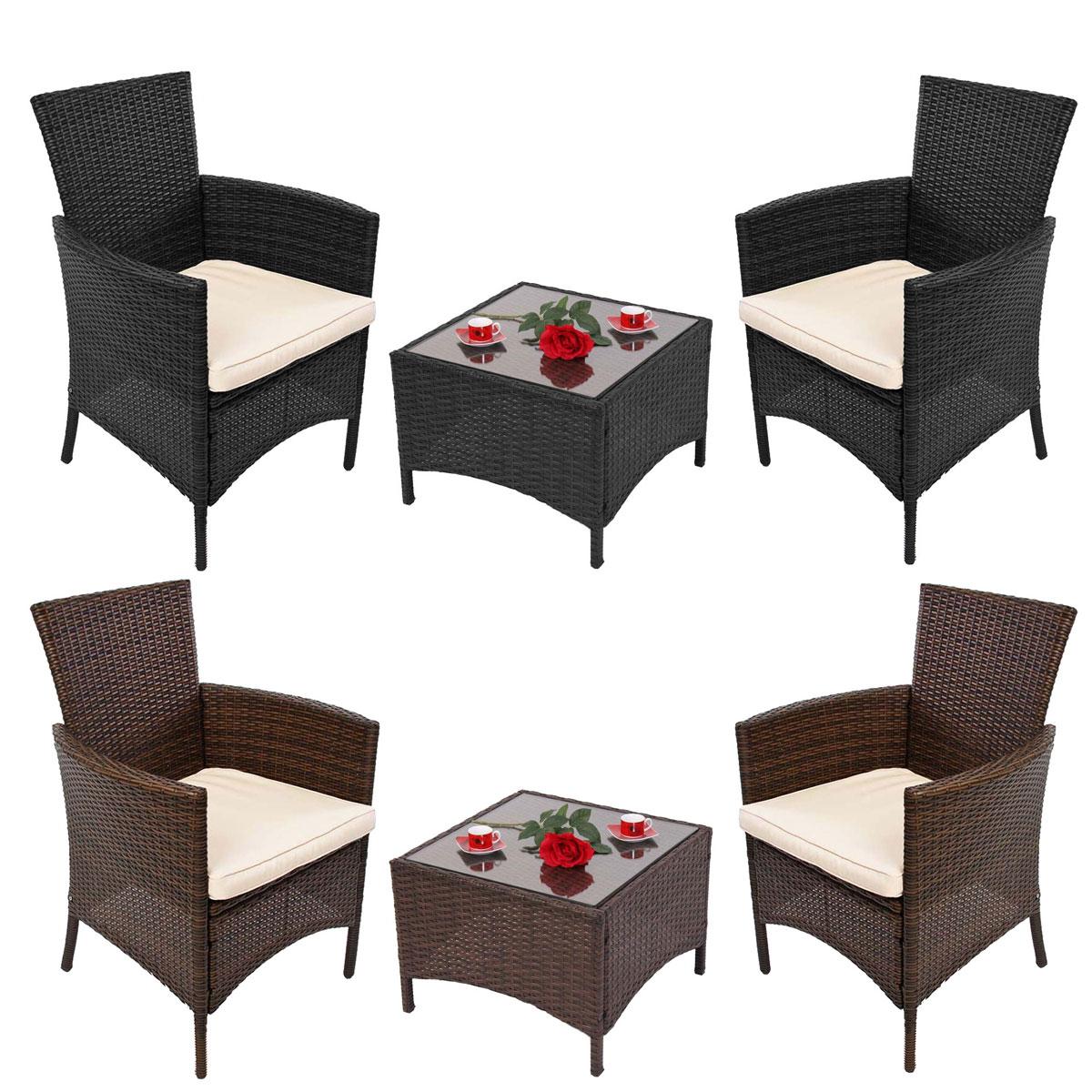 Garten-Garnitur Sitzgruppe RomV, Poly-Rattan, Tisch eckig + 2x Sessel ~ Variantenangebot