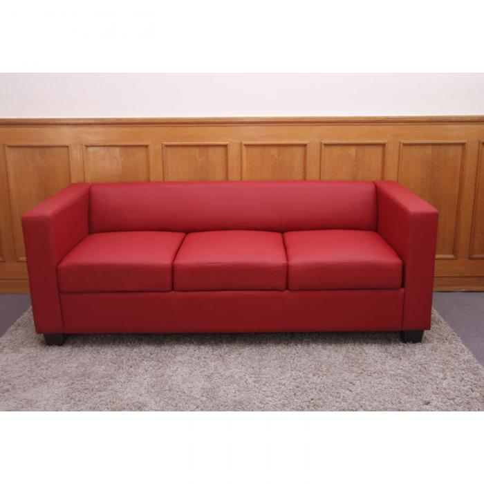 3er Sofa Couch Loungesofa Lille Leder Rot