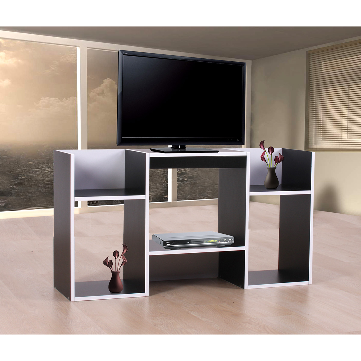 tv rack fernsehtisch standregal aus holz 109x59x30 cm schwarz. Black Bedroom Furniture Sets. Home Design Ideas