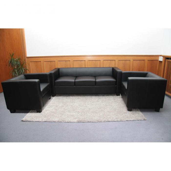 3 1 1 sofagarnitur couchgarnitur loungesofa lille leder schwarz. Black Bedroom Furniture Sets. Home Design Ideas