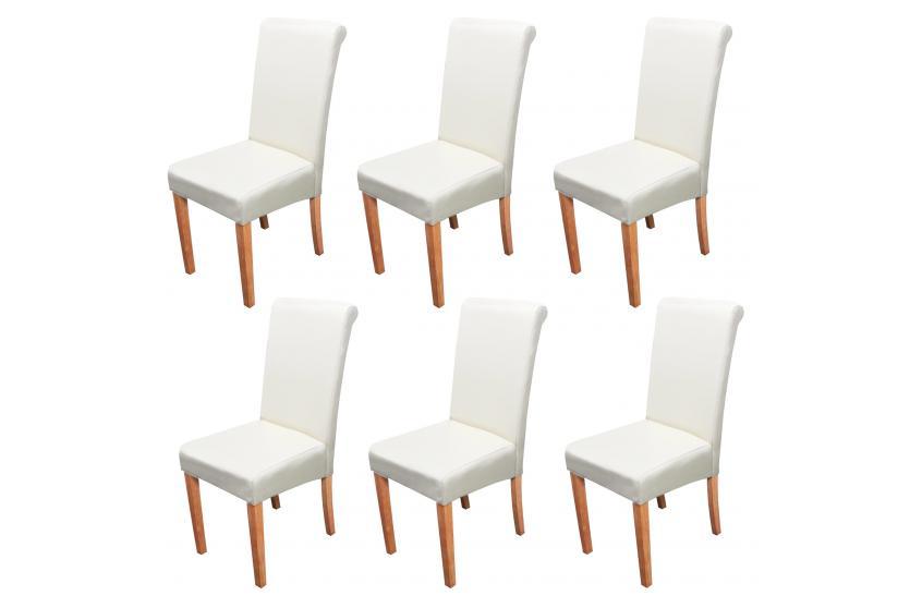 6x esszimmerstuhl stuhl lehnstuhl novara ii leder creme helle beine. Black Bedroom Furniture Sets. Home Design Ideas