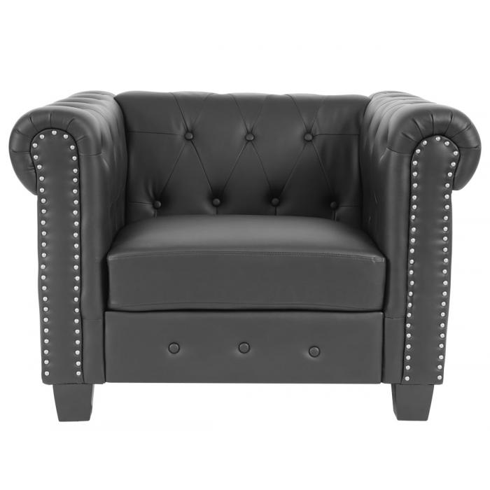 luxus sessel loungesessel relaxsessel chesterfield kunstleder eckige f e schwarz. Black Bedroom Furniture Sets. Home Design Ideas