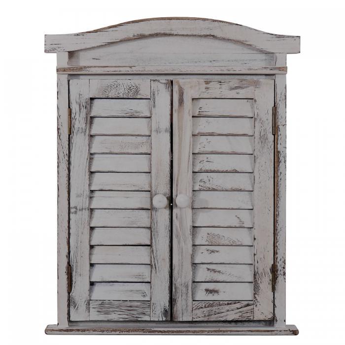 wandspiegel spiegelfenster mit fensterl den 53x42x5cm grau shabby. Black Bedroom Furniture Sets. Home Design Ideas