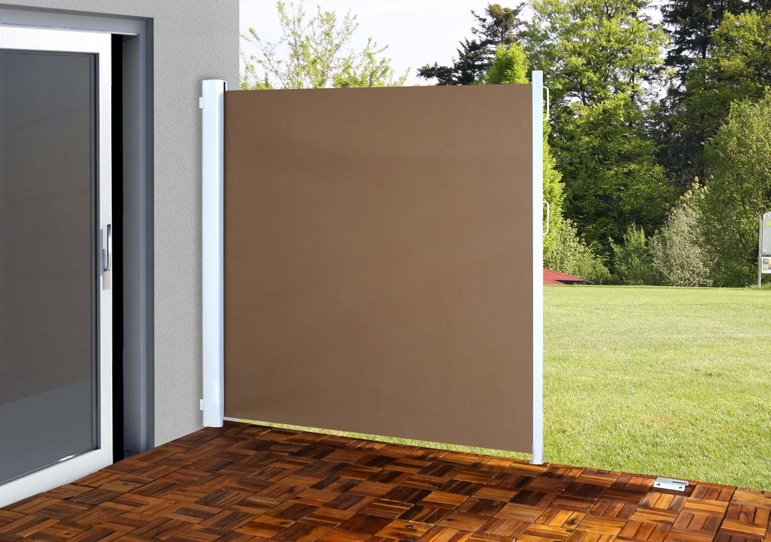 seitenmarkise t140 sichtschutz sonnenschutz windschutz alu 1 8x3m hellbraun. Black Bedroom Furniture Sets. Home Design Ideas