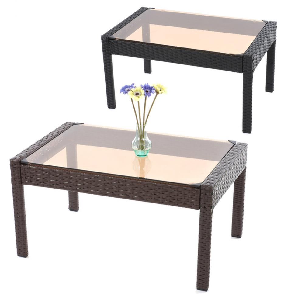 poly rattan beistelltisch kaffeetisch gartentisch tisch. Black Bedroom Furniture Sets. Home Design Ideas
