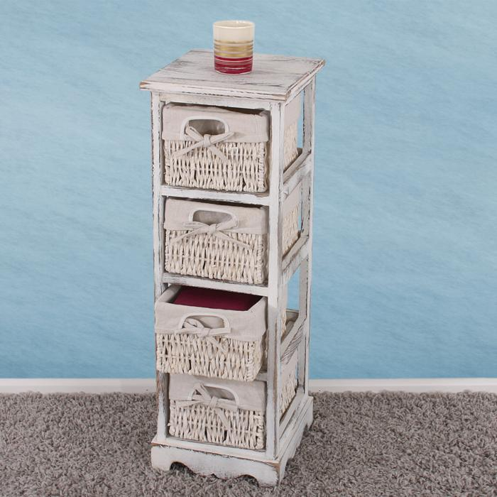 Regal Kommode Mit 4 Korbschubladen 74x25x28cm Shabby Look Vintage